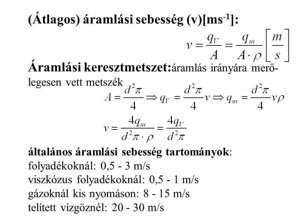(Átlagos) áramlási sebesség (v)[ms-1]: